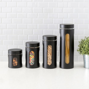 4 Piece Stainless Steel Canisters with Multiple Peek-Through Windows, Black
