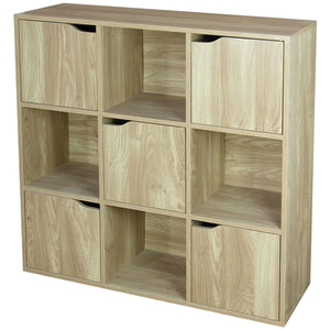 9 Cube Wood Storage Shelf with Doors, Natural