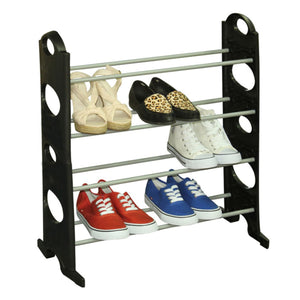 Stackable  12 Pair Metal and Plastic Shoe Rack, Black