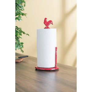 Cast Iron Rooster Paper Towel Holder, Red