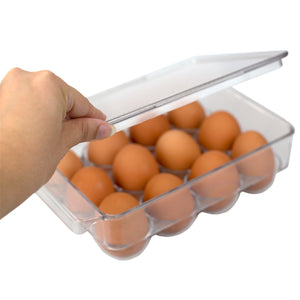 Michael Graves Design Stackable 12 Compartment Plastic Egg Container with Lid, Clear