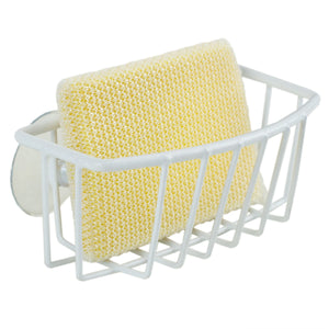 Vinyl Coated Steel  Sponge Holder with Suction Cups, White