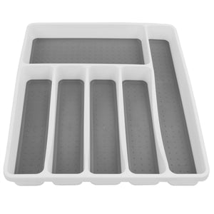 Large Cutlery Tray with Rubber Lined Compartments, White