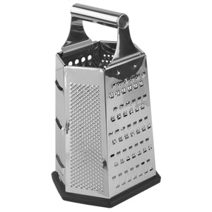 Heavy Weight 6 Sided Stainless Steel Cheese Grater with Non-Skid Rubber Base, Black