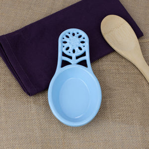 Sunflower Heavy Weight Cast Iron Spoon Rest, Light Blue