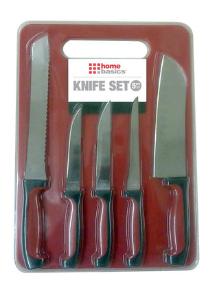 Home Basics 5 Piece Knife Set with Cutting Board