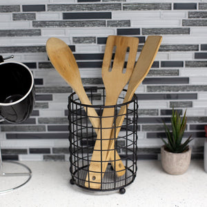 Grid Free-Standing Cutlery Holder with Mesh Bottom, Black