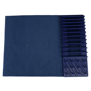 Michael Graves Design 11 Slot Plastic Dish Drying Rack with Super Absorbent Mat, Indigo