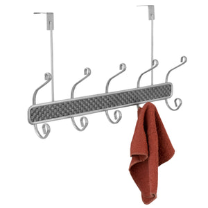 Basket Weave 5 Hook Hanging Rack, Silver