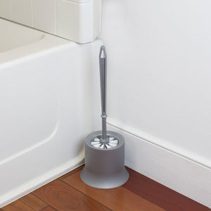 Plastic Toilet Brush with Compact Holder, Grey