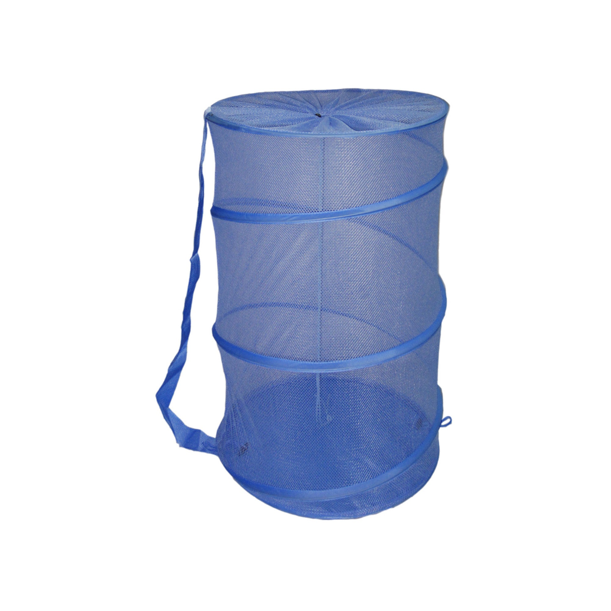Sunbeam Mesh Barrel Laundry Hamper, Blue - Blue