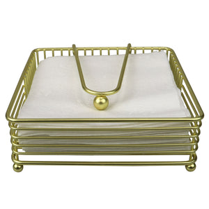 Halo Steel Napkin Holder with Weighted Pivoted Arm, Gold