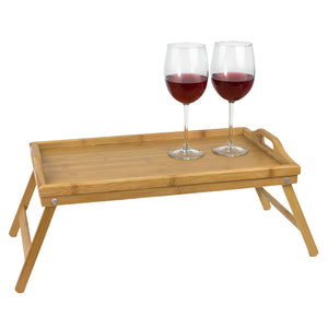Home Basics Multi-Purpose  Folding Rustic Pine Bed Tray with Cut-out Handles