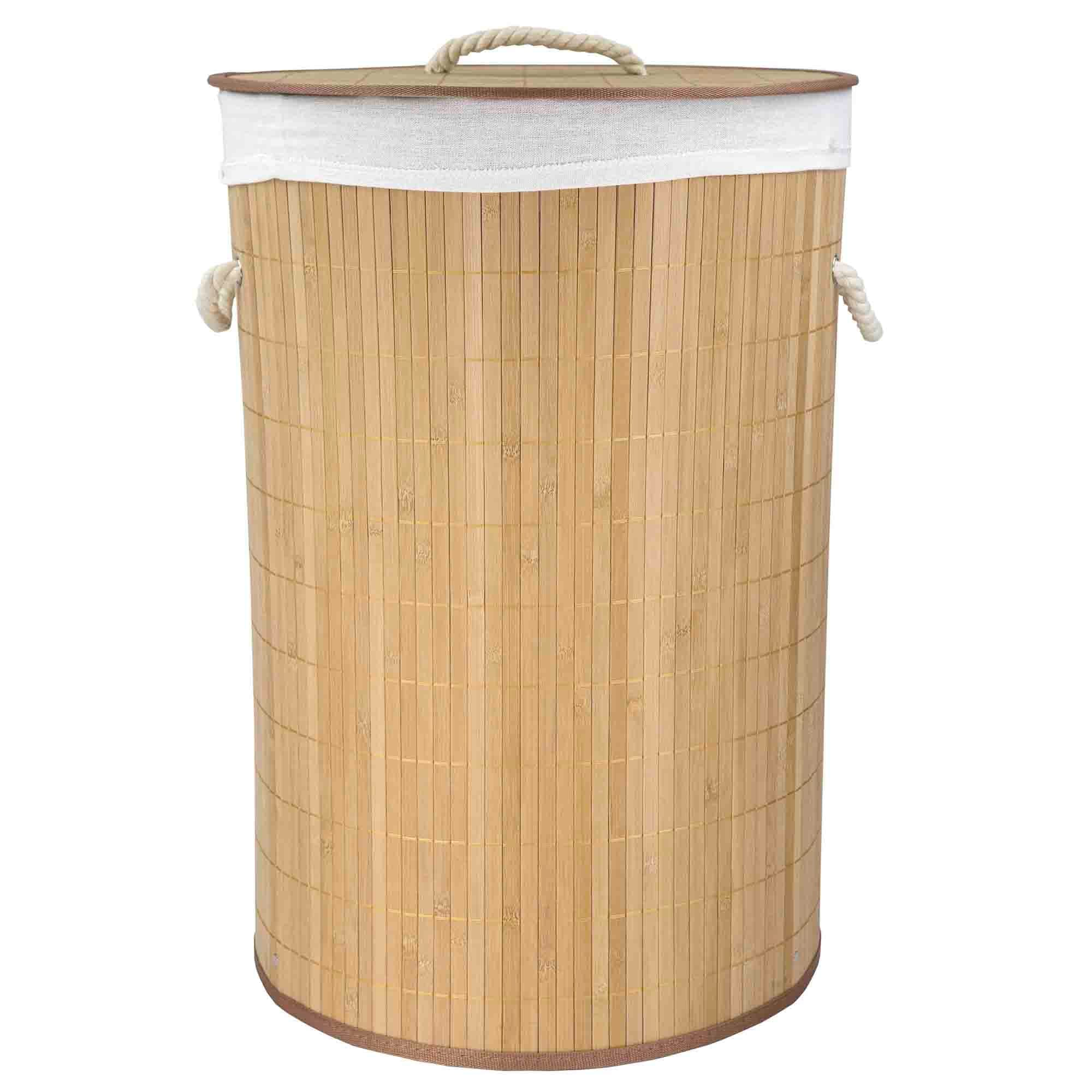 Round Foldable Bamboo Hamper, Natural