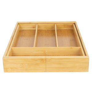 Expandable Bamboo Utensil Tray, Natural