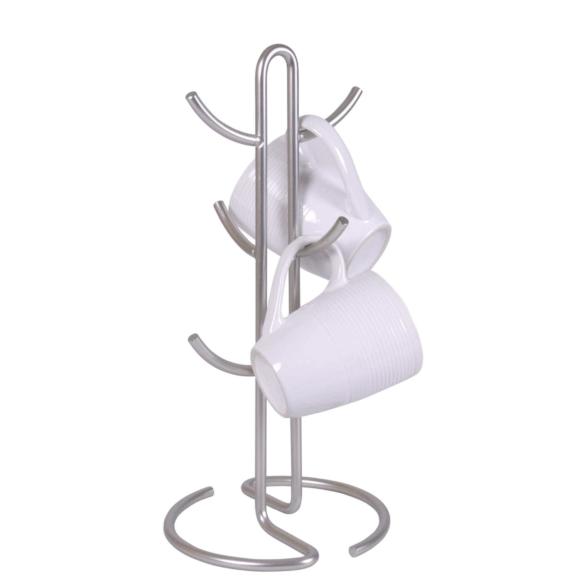 Michael Graves Design Simplicity 6 Hook Steel Mug Tree, Satin Nickel