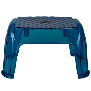 Home Basics One Step Higher Transparent Plastic Step Stool with Anti-Slip Rubber Feet