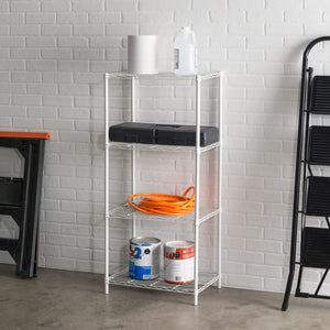 4 Tier Commercial Grade Steel Multi-Purpose Adjustable Wire Shelving Unit with 50 lb Weight Capacity Per Shelf, White