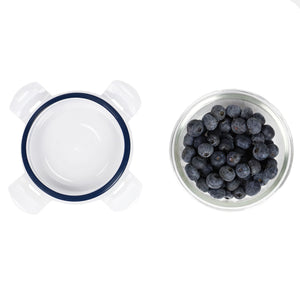 Michael Graves Design 13 Ounce High Borosilicate Glass Round Food Storage Container with Indigo Rubber Seal