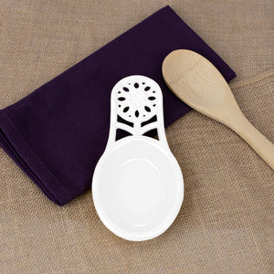 Sunflower Heavy Weight Cast Iron Spoon Rest, White