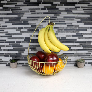 Halo Steel Fruit Basket with Banana Hanger, Gold