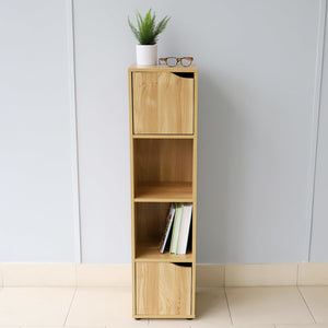 4 Cube Wood Storage Shelf with Doors, Natural