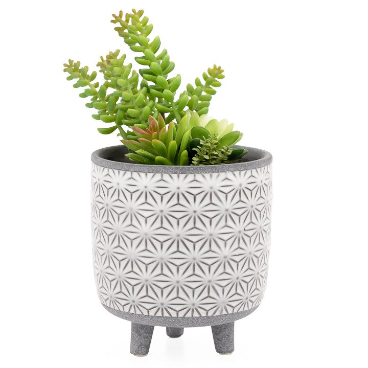 "Load image into Gallery viewer, 6"" Star Wh Glazed Footed Pot"