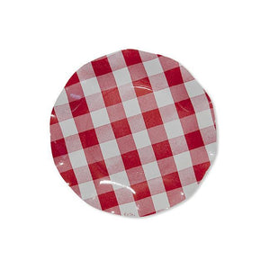 Wavy Salad Plate Red Gingham