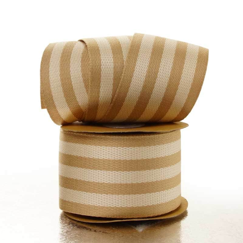 Ivory Wide Stripe Faux Burlap Ribbon