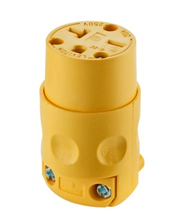 20A 250V Yellow Female Cord Cap