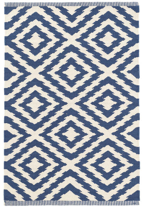 Clover Blue Woven Cotton Rug - Runner