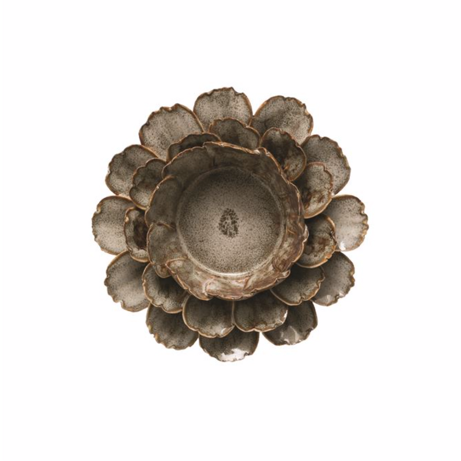 Stoneware Flower Tealight Holder