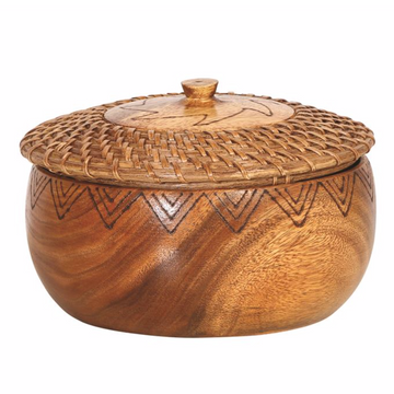 Woven Rattan & Acacia Wood Container