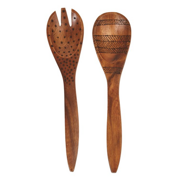 Acacia Wood Salad Servers w/ Burned Design