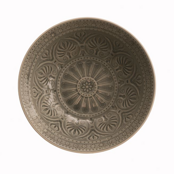 Debossed Stoneware Bowl Grey