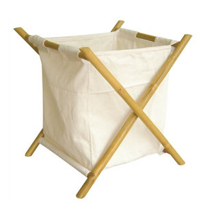 Load image into Gallery viewer, Bamboo Canvas Hamper - White