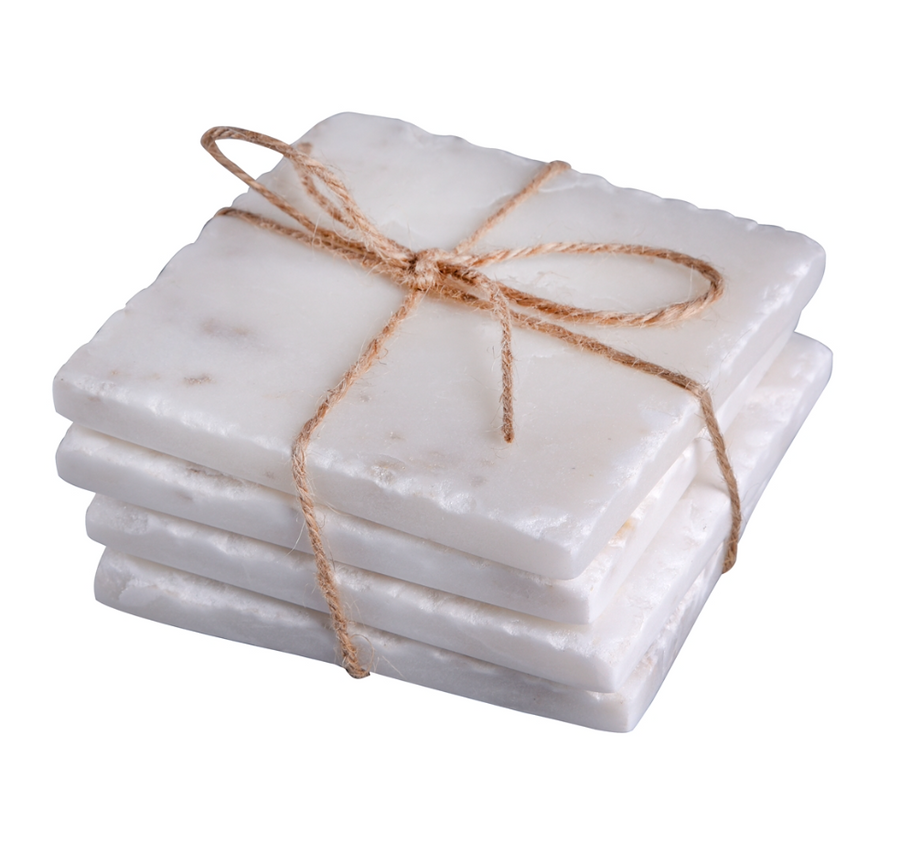 Marble Square Coasters - White