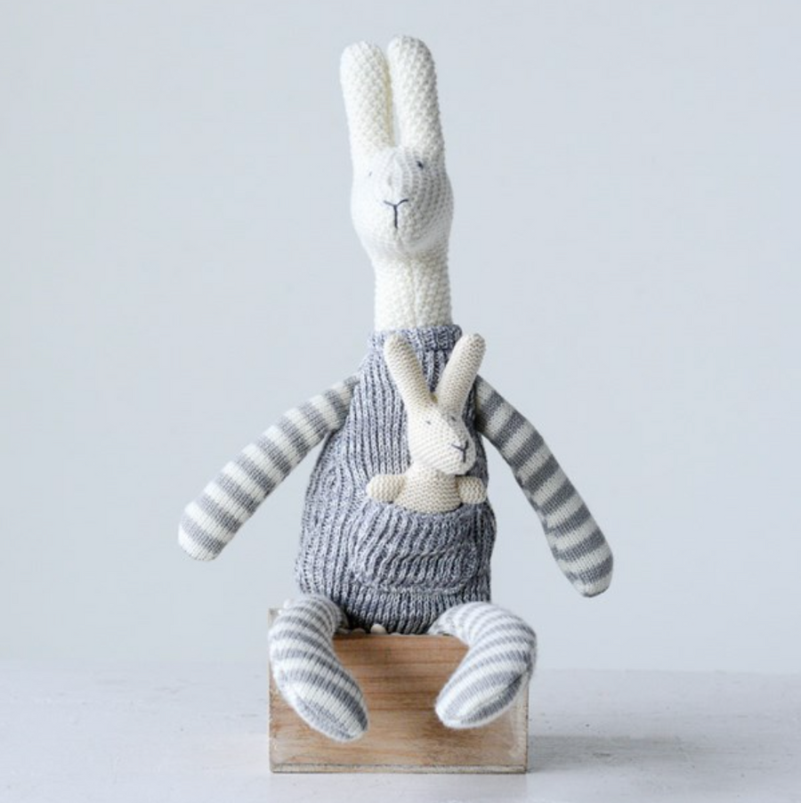 Knit Kangaroo w/ Baby - Grey