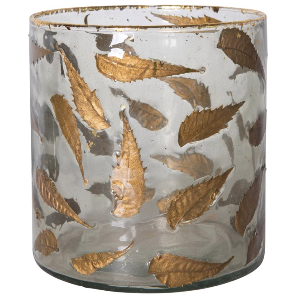 "6"" Round Vase w/ Gold Leaves"