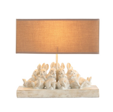 Resin Table Lamp w/ Rabbits