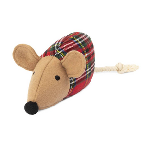 Plaid Mouse Dog Toy