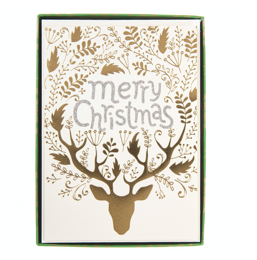 Gold Reindeer Boxed Cards - Lg