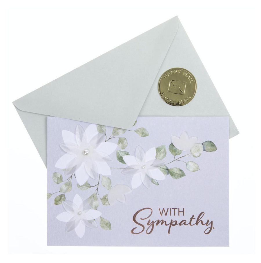 White Flower Sympathy Card