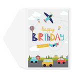 Cars & Airplanes Birthday Card