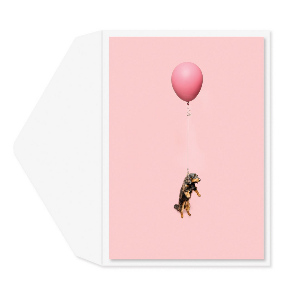 Dog On Balloon Card