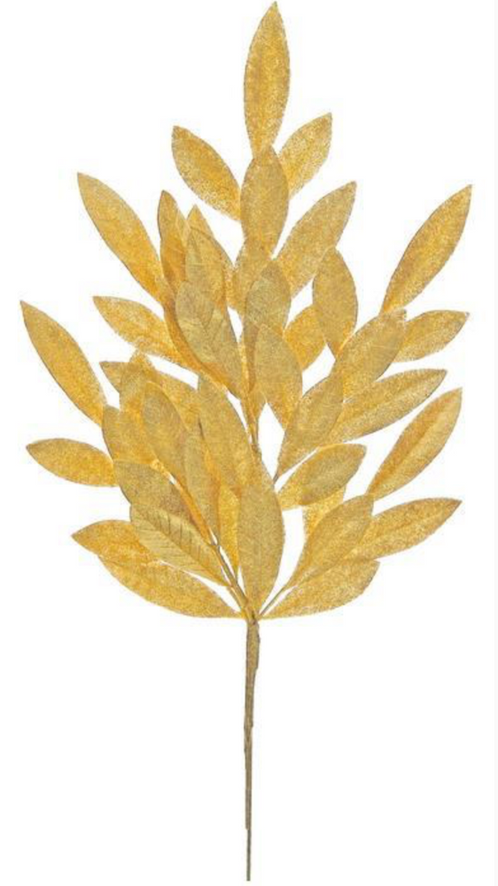 Glittered Bay Leaf Spray Gold