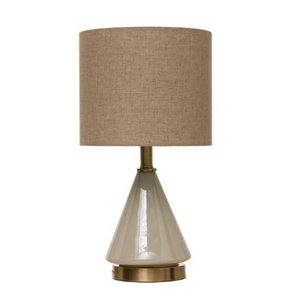 Glass Table Lamp w/Linen Shade