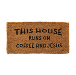 """Coffee & Jesus"" Door Mat"