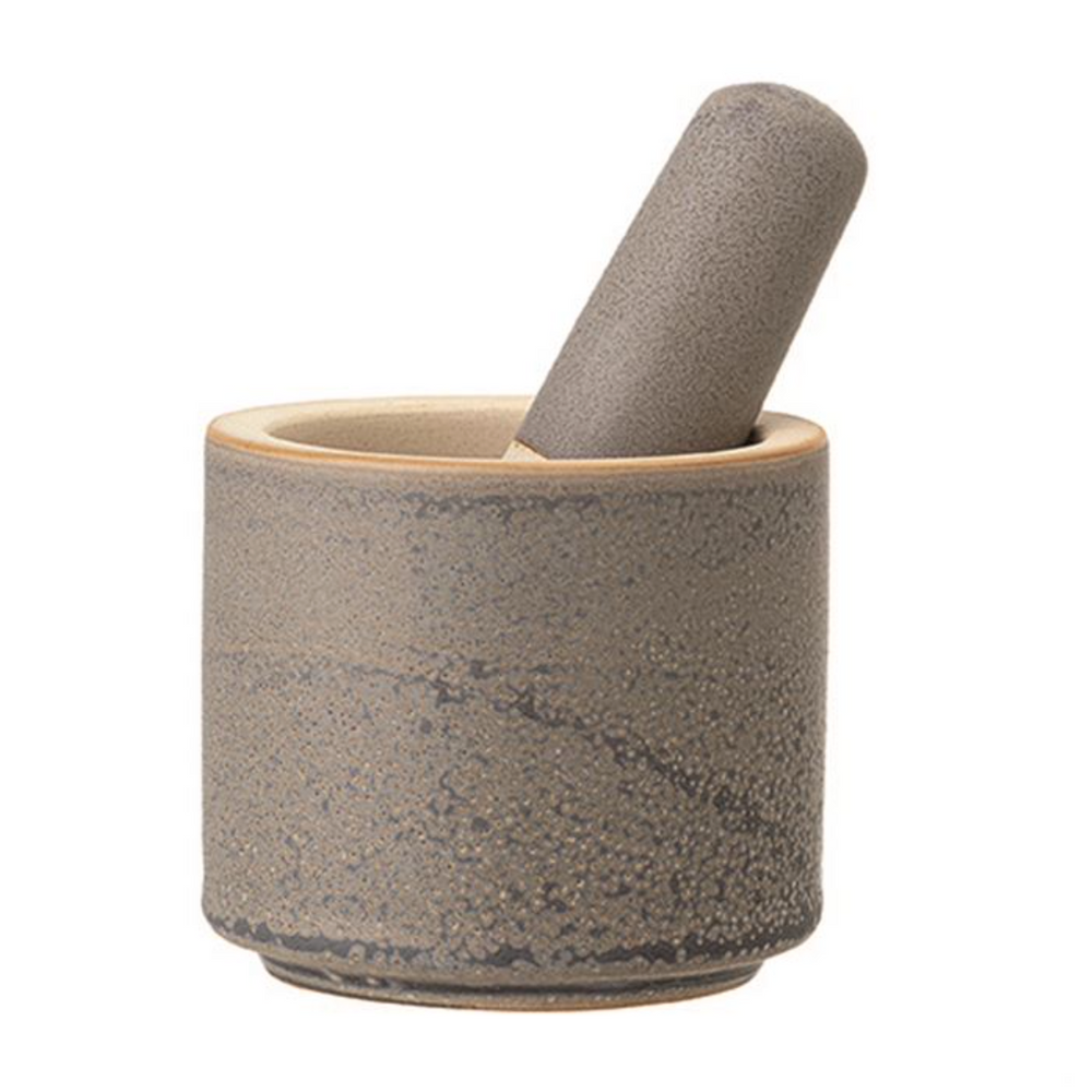 "Load image into Gallery viewer, 5"" Round Mortar & Pestle -Grey"