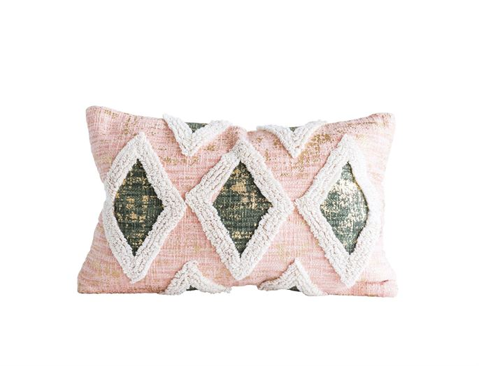 Pink & Gold Pillow w/ Embroidery